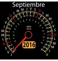 2016 year calendar speedometer car in Spanish vector image