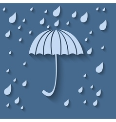 Simple icon with umbrella and rain drops on a vector