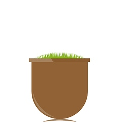 Flower pot with grass vector
