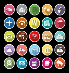 Real estate flat icons with long shadow vector