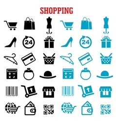 Shopping and commerce flat icons set vector