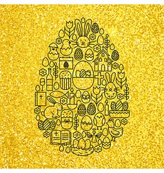 Gold and black happy easter line icons set egg vector