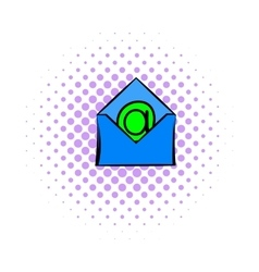 Open envelope with e-mail sign icon comics style vector