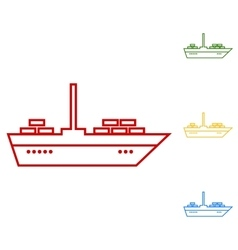 Ship set of line icons vector