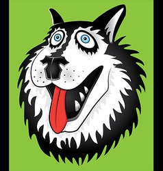 Husky dog portrait cartoon portrait design vector