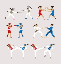 Fighting sports athletes women set vector