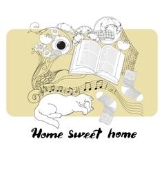 Calligraphic quote printable phrase home sweet vector