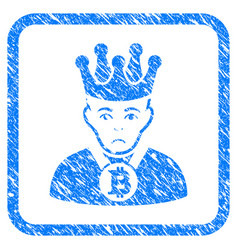 Bitcoin king framed stamp vector