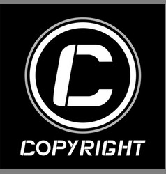 Black copyright icon vector
