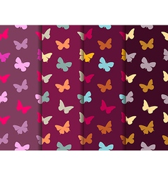 Butterfly seamless pattern set vector