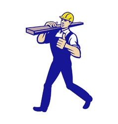 Carpenter tradesman carrying timber lumber vector