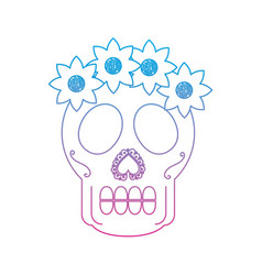 Catrina sugar skull mexico culture icon image vector