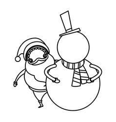 Christmas santa and snowman funny celebration vector