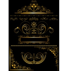 Collection gold frames and calligraphic patterns vector