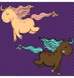 Cute cartoon horses vector image