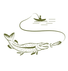 Fisherman in a boat and pike vector