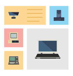 Flat icon computer set of notebook technology pc vector