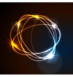Glow flash neon round shape shiny template vector image