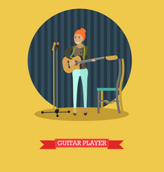 guitar player in flat style vector image