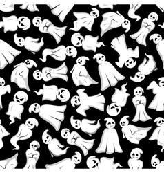 Halloween background with cartoon ghosts vector