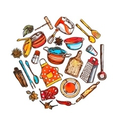 Home cooking round composition vector