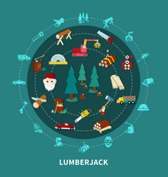 lumberjack round composition vector image vector image