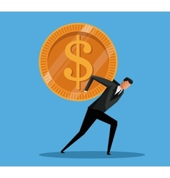 man business carrying money coin vector image