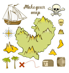 map of island - game for kids with ship island vector image