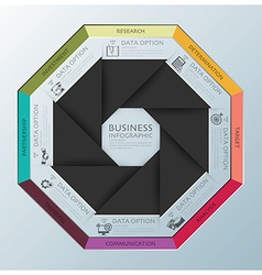 Modern business infographic octagon propeller vector