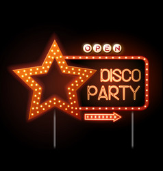 Neon sign of disco star and neon text disco party vector