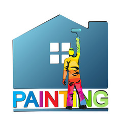 painter paints house vector image