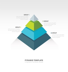Pyramid infographic template 4 color vector