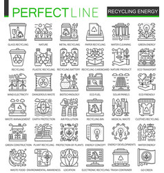 recycling energy outline mini concept symbols vector image