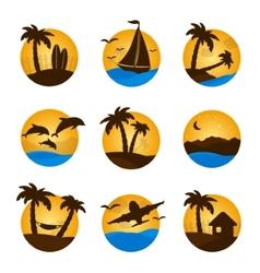 Set tropical flat circle tropical icon palm vector image