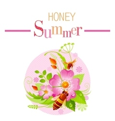 Summer icon with nature elements - wild rose vector image
