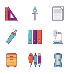 technical drawing icons set flat style vector image