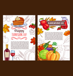 thanksgiving day sketch holiday poster vector image vector image