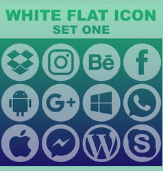 White flat icon set one image vector
