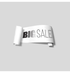 White sale sign paper banner ribbon with vector image vector image
