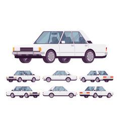 white sedan set vector image