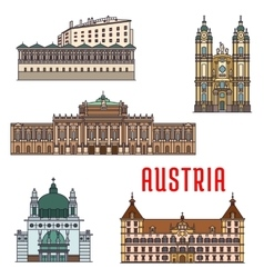 Historic buildings and architecture sightseeings vector