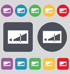 Volume adjustment icon sign a set of 12 colored vector
