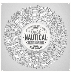 Set of nautical cartoon doodle objects symbols vector