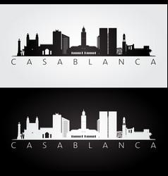 Casablanca skyline and landmarks silhouette vector