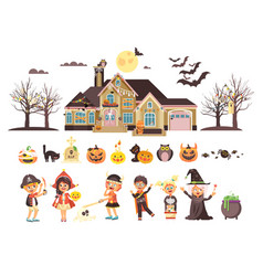 isolated children trick-or vector image