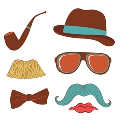 Colorful mustache party elements collection vector image