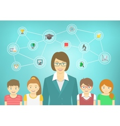 Modern woman teacher and kids vector
