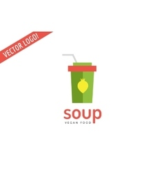 Vegan eco soup pack logo icon nature product vector
