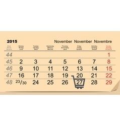 27 november 2015 black friday sale calendar vector