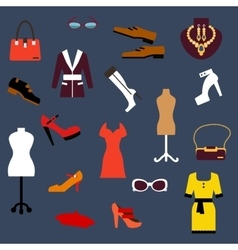 Fashion clothing and accessories flat icons vector